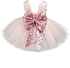 EsTong Baby Girls Newborn Sequins Bowknot Party Dress Toddler 1st Birthday Tulle Cake Outfit