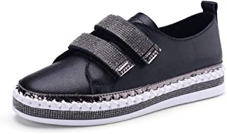 Women's Casual Shoes Spring Fall Deck Shoes Fashion Flat Rhinestone Shoes Low-Top Casual Shoes White Black,Black,38
