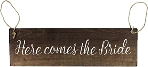 Double Sided Here Comes The Bride Sign with and They Lived Happily Ever After for Ring Bearer or Flower Girl Rustic Wedding Decor
