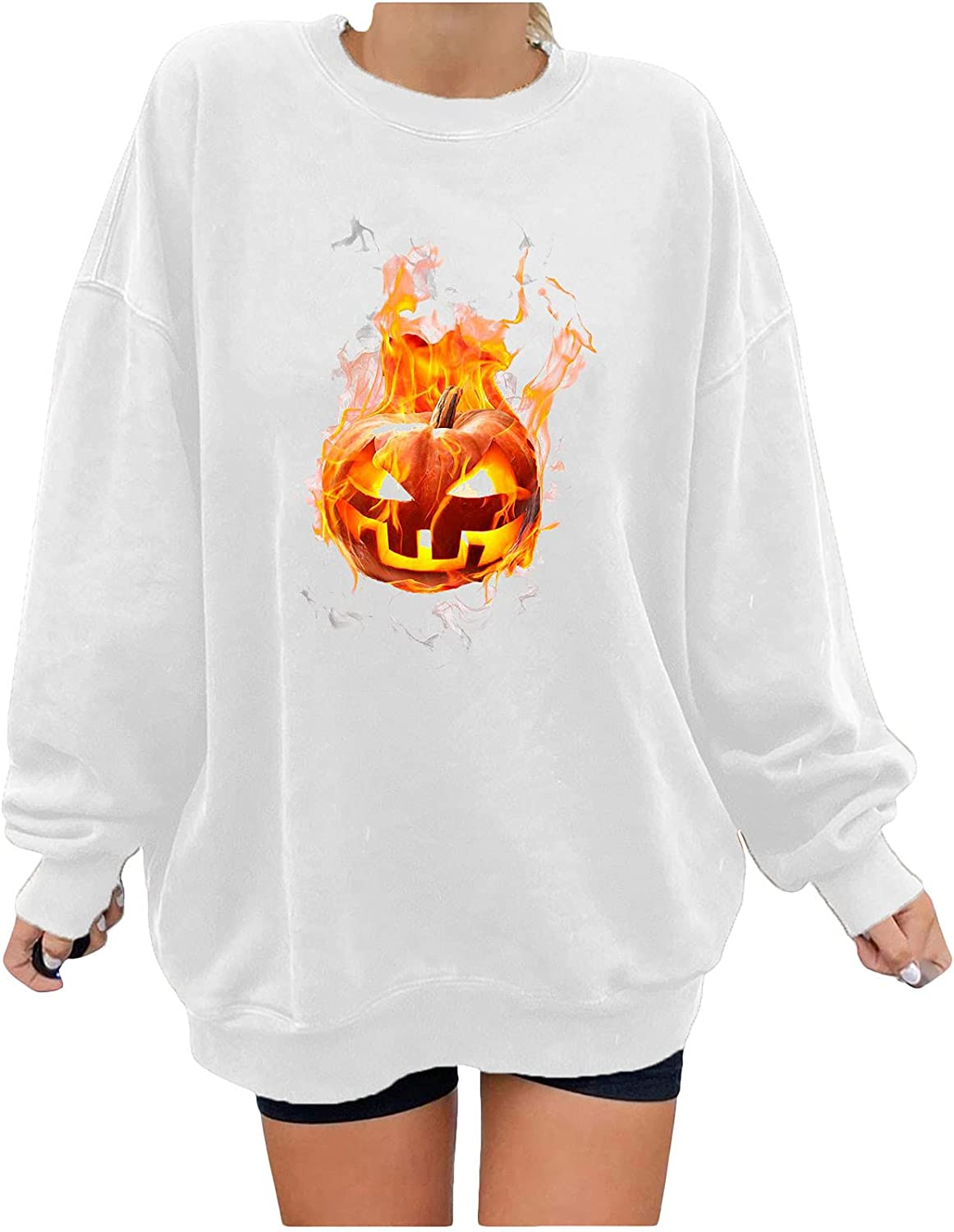 Halloween Sweaters for Women Round Neck Long Sleeve Printed Casual Fashion Loose Sweater Top Autumn Winter