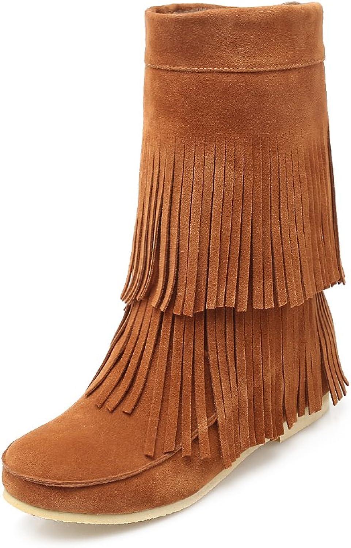 AIWEIYi Womens Heignt Increasing Tassel Wedge Heel Platform Ankle Boots Booties Black