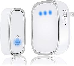 AUTENS Wireless Doorbell, Waterproof Door Bell Chime Kit Battery Operated 36 Melodies 4 Level Volume 1000 Ft Long Range LE...