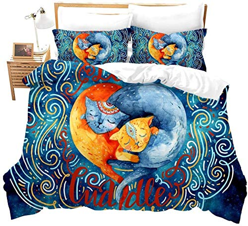 Rvvaceo Duvet Cover & Pillowcase Set Bedding 3 Pieces Microfiber Duvet Cover With Pillowcases With Soft Soft Hypoallergenic Easy Care , Machine Washable-Single (135 X 200 Cm) Yellow Blue Animal Fox P