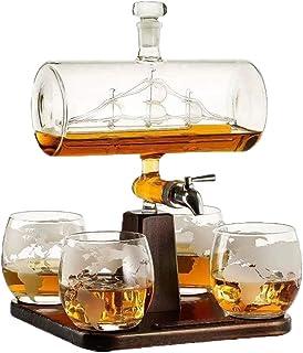 1000ML Whiskey Karaffe Schiff Anzug, Mit 4 Whiskeygläser Und Holzständer, 100% Bleifreies Glas, Perfekte Geschenke Set Für Alkohol, Scotch, Bourbon, Vodka