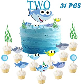 Suppar 31 Set Shark TWO Birthday Cake Topper Blue Baby Shark Cupcake Toppers for Baby Shark Birthday Party Boy