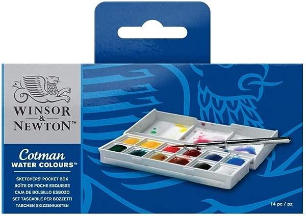Winsor Newton Cotman Water Colour Paint Sketchers Pocket Box Half Pans 14 Pieces