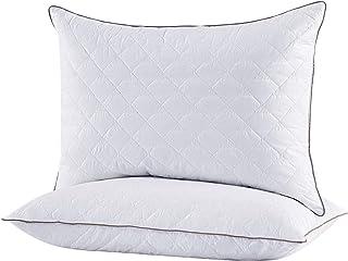 Amazon Brand - Umi Paire d'oreillers en Duvet et Plumes à Bords Marron Oreiller Standard Doux avec Housse en Coton 50x70cm