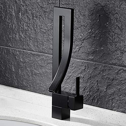 ODOMY Waschtischarmatur Badarmatur Schwarz für Waschbecken in Badezimmer Toilette aus Edelstahl Messing Modern Einhebelmischer Mischbatterie mit Temperatureinstellung (Schwarz-A)