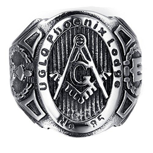 HIJONES Schmuck Herren Edelstahl Freimaurer Freimaurer Ringe, Herrschsüchtig, Europäische Stil, Black Silver Größe 57 (18.1)