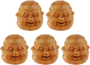 Baoblaze 5pcs Wooden Erawan Buddha Head Statue Crafts Decorative Ornament