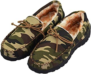 Men's Thick Plush Lining Microsuede Indoor Outdoor Slip On Moccasin Slippers with Rubber Sole (FBA)