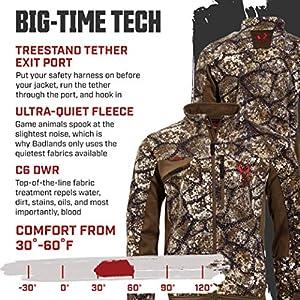 Badlands Ascend Jacket Water Resistant Fleece Hunting Jacket With Treestand Tether Exit Port