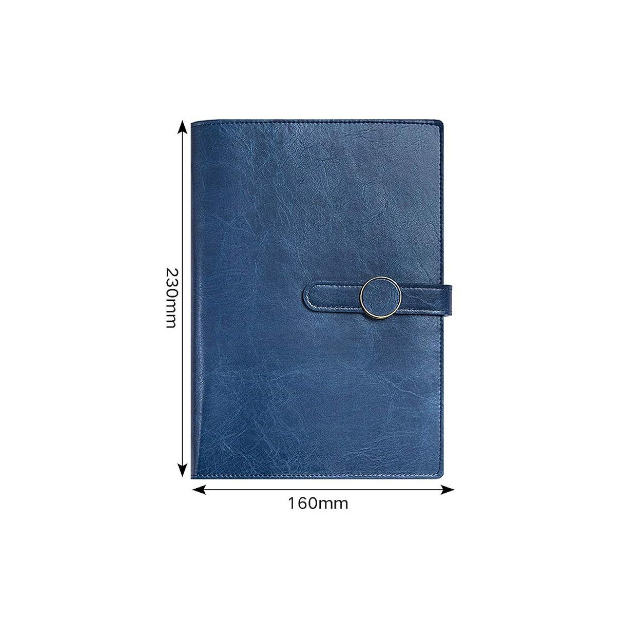 Kehuitong ルーズリーフノート、簡単な携帯用メモ帳、ビジネスオフィスの会議のノート、赤、茶色、緑、青、黒 高品質の製品 1 (Color : Blue)