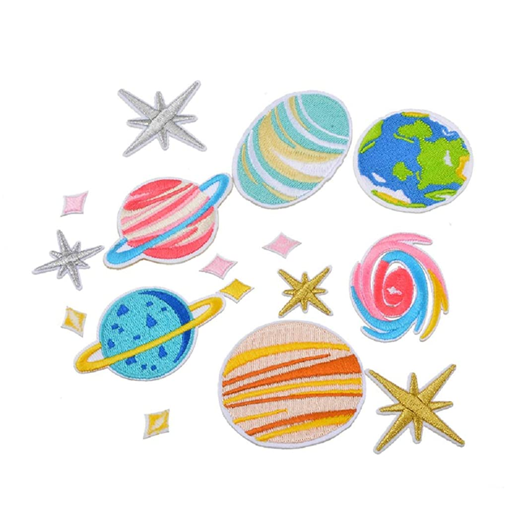 Souarts 16pcs Patches Assorted Galaxy Planet Star Embroidered Sew Iron On Applique Patches Set for DIY Crafts