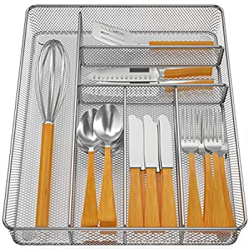 Pipishell Mesh Drawer Organizer Tray for Cutlery Silverware Flatware 6 Compartments Kitchen Utensils Holder with Anti-slip Mats Drawer Dividers for Knives Fork Spoon Office Supplies Large