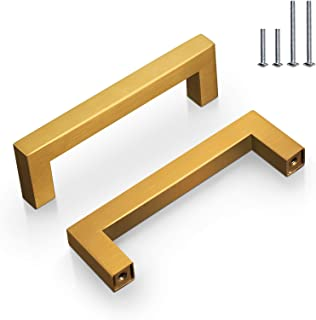 Probrico Stainless Steel Kitchen Cabinet Handles Gold Drawer Pulls Knobs for Kitchen Hardware, Gold