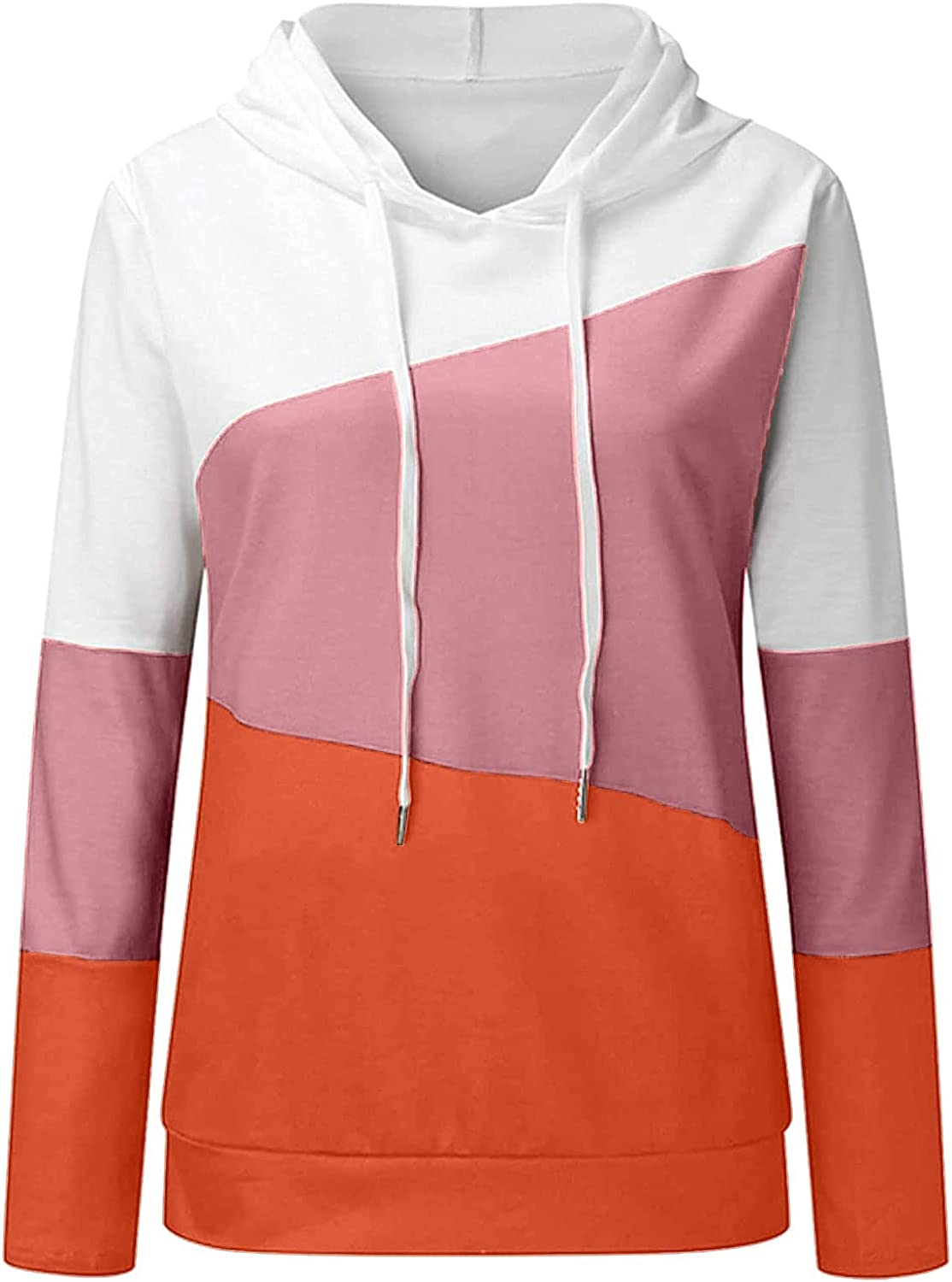 Womens Color Contrast Drawstring Hoodie Sweatshirt Pullover Lightweight O Neck Long Sleeve Blouse Tops Jumper