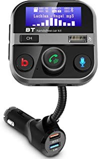 Bluetooth FM Transmitter for Car, FM Radio Adapter Handsfree Car Kit 1.7 Inch Screen with Bass Switch, 2.4A QC3.0 USB Port...