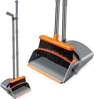 Extendable Broom and Dustpan Set, Durable & Foldable Lobby Broom and Upright Dust pan..