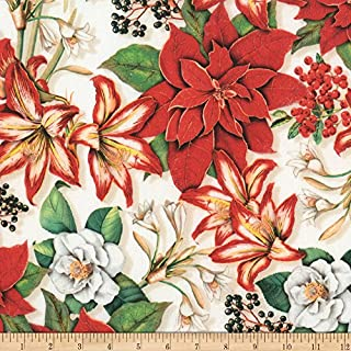 Robert Kaufman Holly Jolly Flowers Pointsettias Holiday Fabric by The Yard
