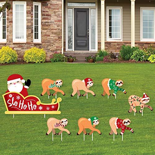 Big Dot of Happiness Sloth Christmas Santa Sleigh - Yard Sign and Outdoor Lawn Decorations - Merry Slothmas Holiday Party Yard Signs - Set of 8