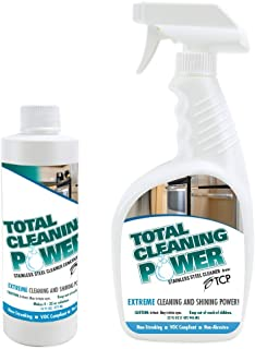 TCP Stainless Steel Cleaner Concentrate, 16 fl oz with Free 32 oz Spray Bottle (Makes 4 Bottles), Streak-Free, Fingerprint Resistant, Total Cleaning Power Formula (Neutral pH - 7.6)