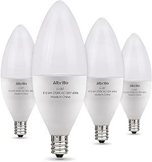 Albrillo E12 LED Bulb Candelabra Light Bulbs 6W, 60 Watt Equivalent, Warm White 2700K Chandelier Bulbs, Decorative Candle Base, Non-Dimmable, pack of 4