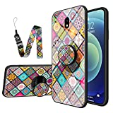 JZ Galaxy J5 Pro National Style Flower Flower Design Glass Funda For para Samsung J5 Pro with Long Wrist Strap Soft Edge + Tempered Glass Back Cover - B