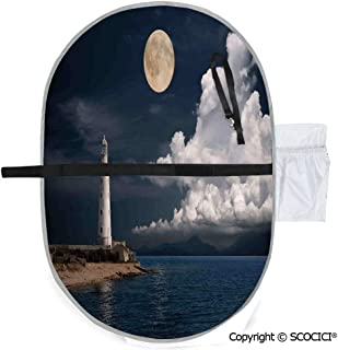 SCOCICI Printed Custom Polyester Baby Diaper Changing Pad Lighthouse at Moonlight Island Isle Large Clouds Sea Seaside Waterfront Night Time Bay Portable and Foldable Infant Large Nappy Mat 20x27 inch
