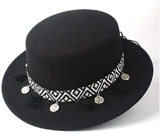 HaiNing Zheng Men Women Autumn Winter Flat Top Fedora Hat With Tassel Ribbon Church Hat Wide Brim Jazz Fascinator Hat Size 56-58CM