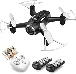 SYMA X22W Mini Drone with Camera Live Video FPV Nano Pocket Drone for Kids and Beginners, RC Quadcopter with App Control, Altitude Hold, 3D Flips, Headless Mode and Bonus Battery, Black