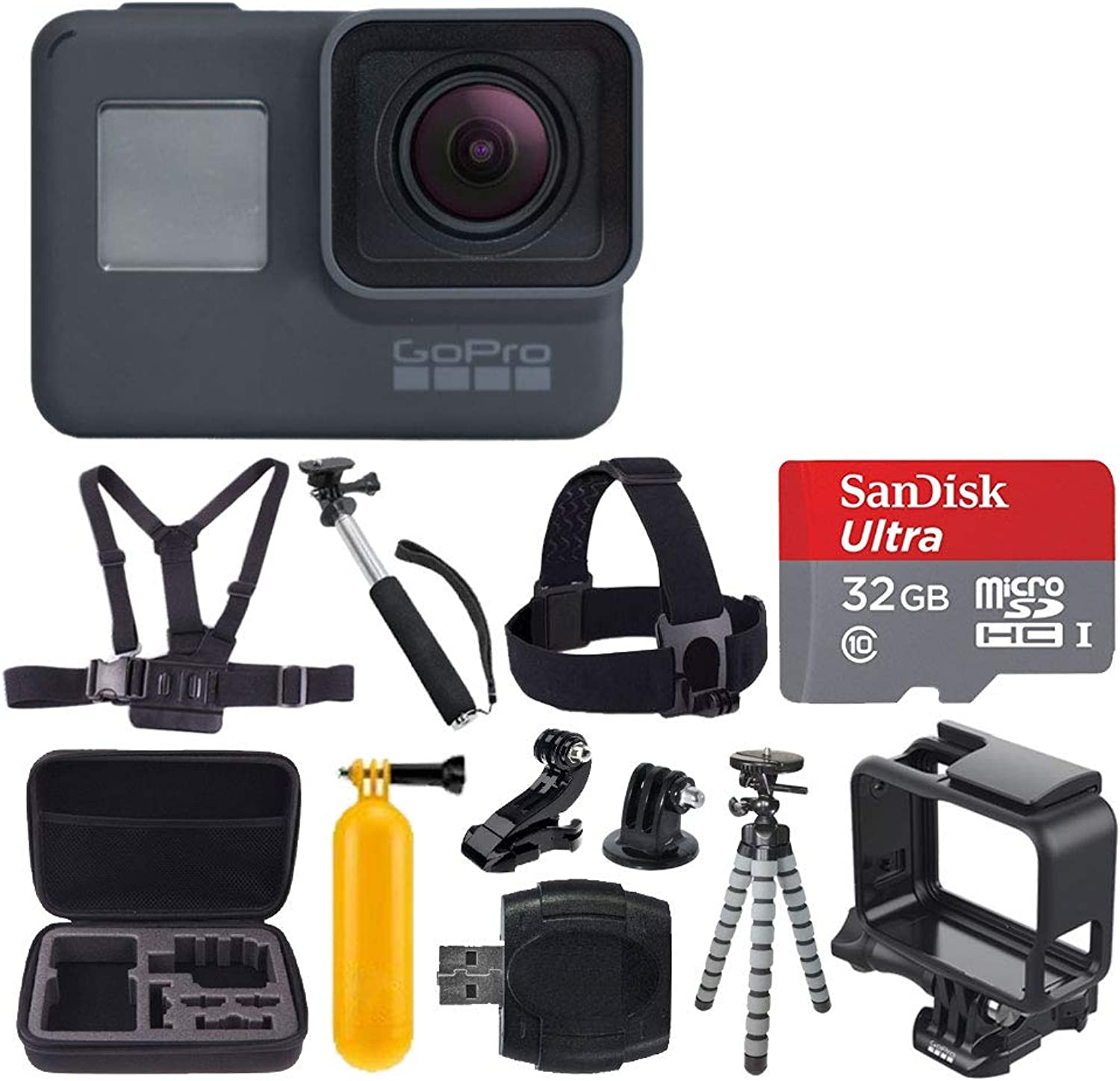 GoPro HERO6 Black Action Camera + 32GB microSDHC with Adapter + Medium Case + Vivitar Memory Card Holder (24 Slots) + Head & Chest Strap + Adhesive Mounts + Floating Handle + Spike Mount + Accessories