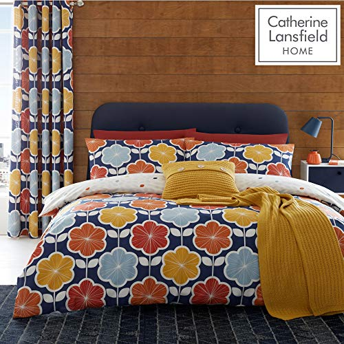 Catherine Lansfield Retro Floral Easy Care Single Duvet Set Navy