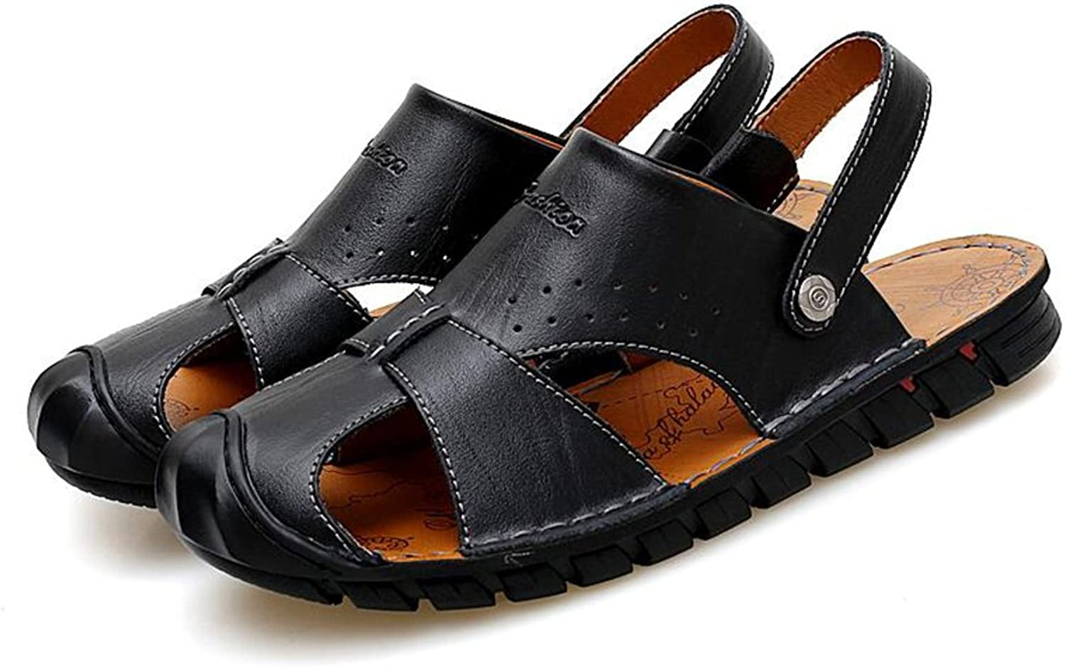 CJC Sandals Fashion Casual Outdoor Men's shoes Summer Walking Leather Athletic Beach Strap Hiking (color   T3, Size   EU43 UK9)