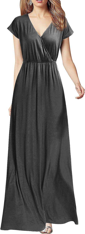 REPHYLLIS Women Cap Sleeve Loose Plain Pockets Maxi Casual Formal Long Dresses