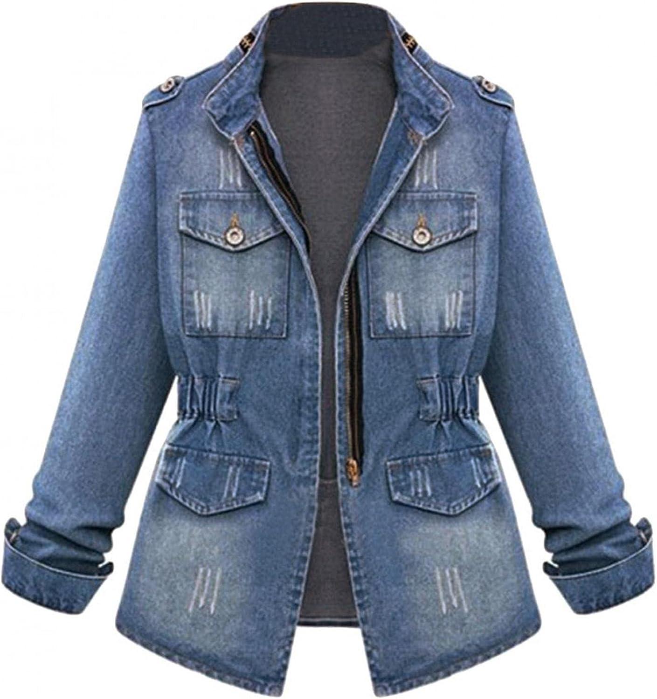 Oversized Mid Long Denim Jacket Distressed Boyfriend Long Sleeve Jean Coat Jeans Trucker Jacket for Women Girls