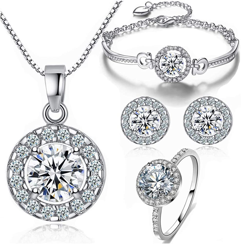 Bridal Jewelry Sets Necklaces Earrings CZ Cuff Bangle Crystal Stud Earring Diamond Ring 4 PCS for Women Girls