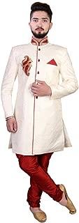 SG RAJASAHAB SGRAJASAHAB Men's Cream Sherwani Raw Silk Fabrics (ART-STAR-131-CREAM-PT)