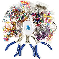 H&S® Deluxe Jewellery Making Kit Starter Tool Pliers Set Silver Beads Findings - Large