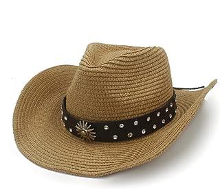 Cowboy Hat Sun Hat Raffia Hat Summer Women's Casual Men's Leather Belt Sun Metal Decorative Diamond Stud Punk Wind` TuanTuan (Color : Coffee, Size : 58cm)