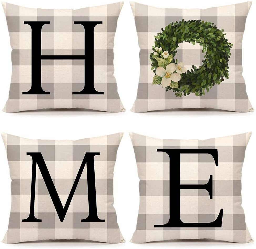 Buffalo Chicago Mall Home Boxwood Spring Set of Throw Selling rankings 4 Cover Pillow Farmhous