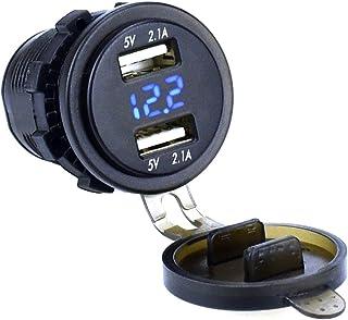مقبس شاحن USB مزدوج من Cllena 2.1 أمبير و2.1 أمبير مع فولتميتر 12 فولت - 24 فولت LED للسيارات، قارب بحري دراجة نارية للهات...