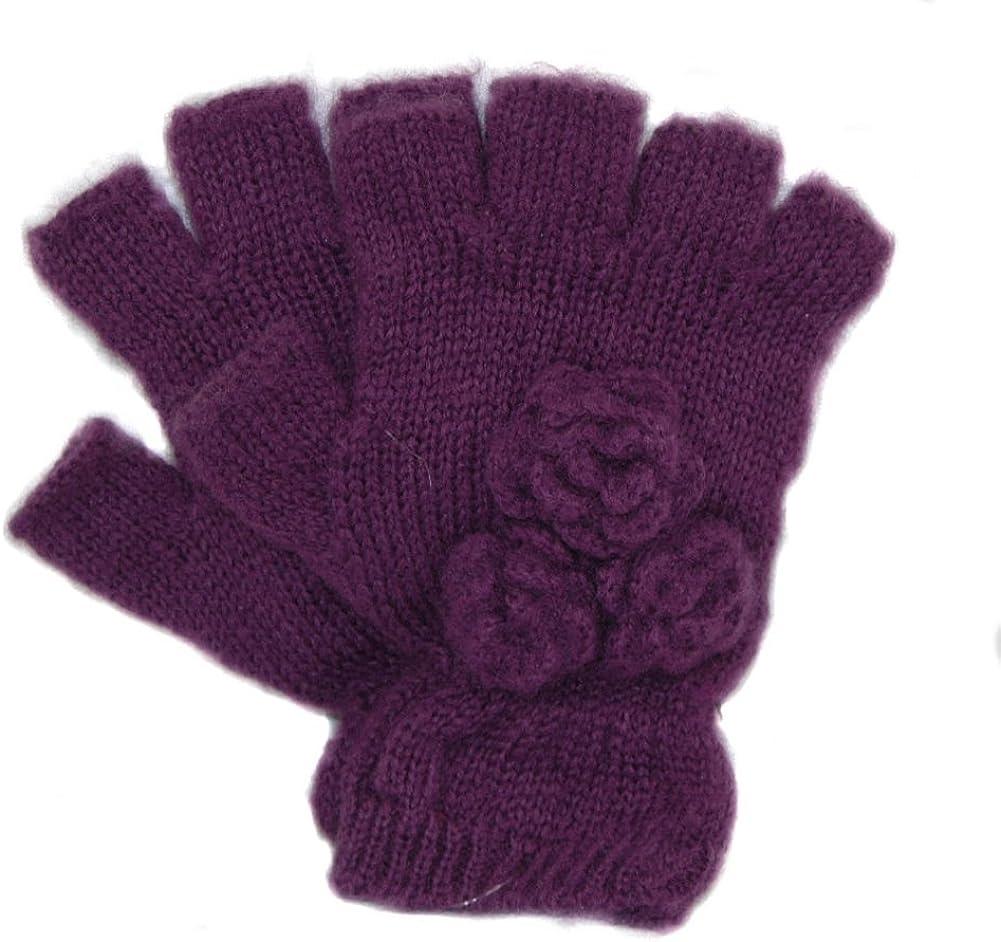 San Diego Hat Company - Women's Fingerless Gloves - Purple w/Flowers