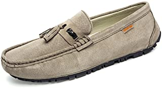 Aomoto Men's Drive Loafers for Casual Suede British Tassel Fashion Breathable Boat Moccasins