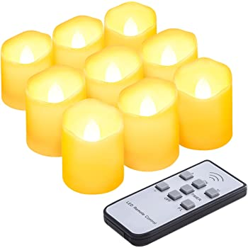 AMIR キャンドルライト LED キャンドル 電気 ろうそく 揺らぐ炎 波形の口 無香料 明るさ調節 タイマー機能付き リモコン対応 点滅仕様 暖色光 癒しの雰囲気 室内飾り 9個セット (スタイルA)