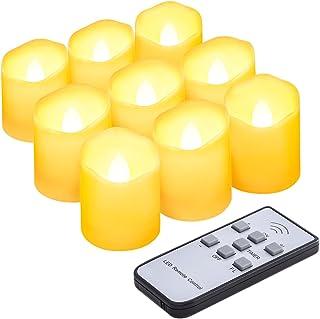 AMIR キャンドルライト LED キャンドル 電気 ろうそく 揺らぐ炎 波形の口 無香料 明るさ調節 タイマー機能付き リモコン対応 点滅仕様 暖色光 癒しの雰囲気 室内飾り 9個セット