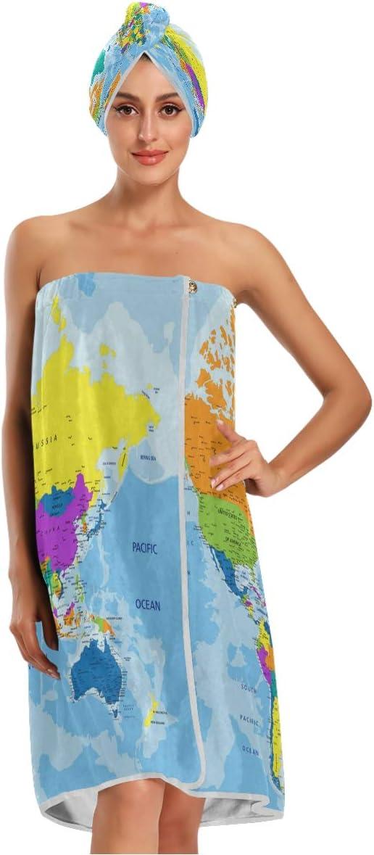 KEEPREA Cheap bargain Colorful World Map Towel Wrap Phoenix Mall Dry Cap Hair Headba with