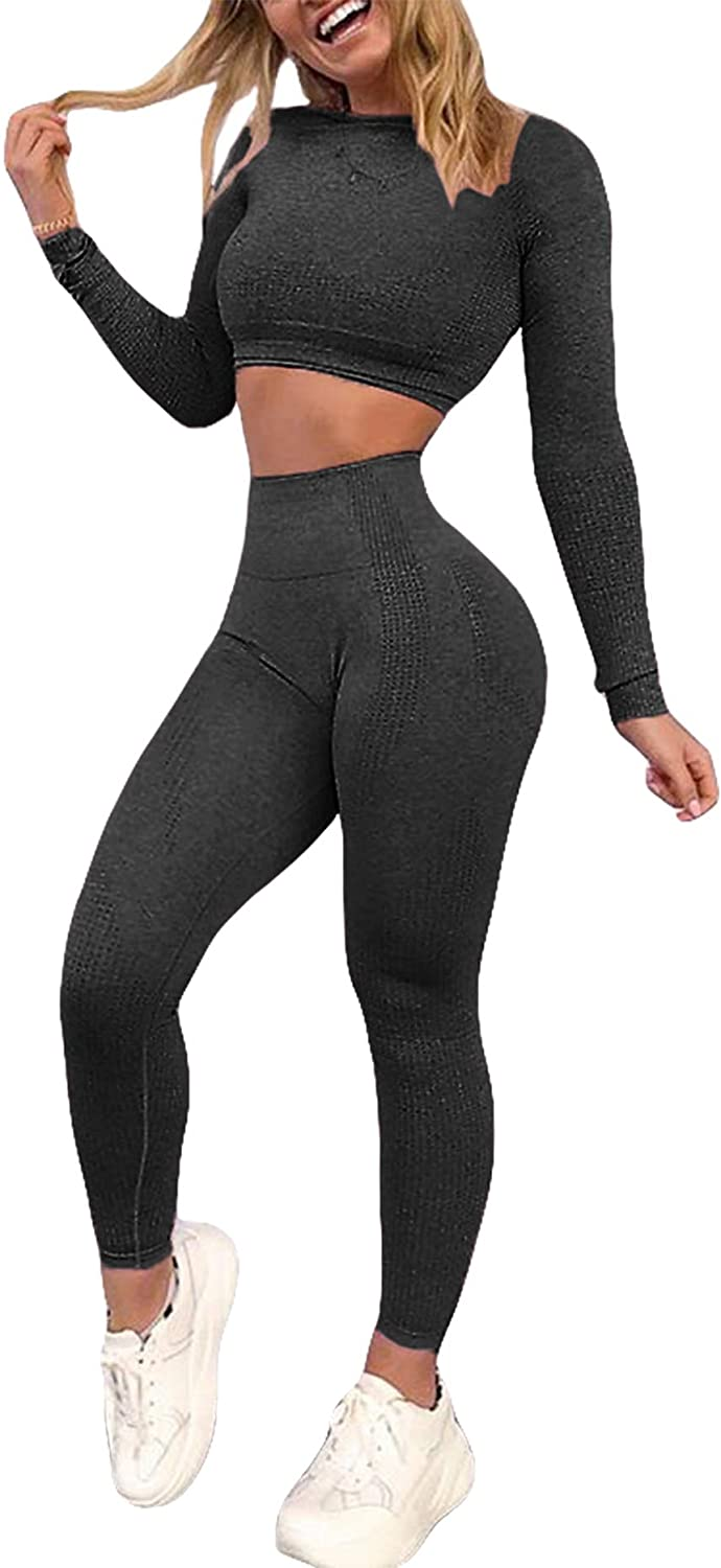 YOFIT Women's Workout Outfit 2 Pieces Seamless High Waist Yoga Leggings with Long Sleeve Crop Top Gym Clothes Set at  Women's Clothing store