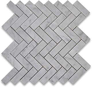 Carrara White Italian Carrera Marble Herringbone Mosaic Tile 1 x 3 Polished