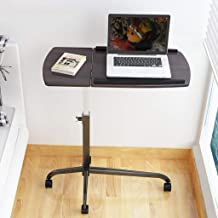 Yxsd Mobile Standing Laptop Desk Computer Table Desktop Adjustable Height and Angle with Wheels Portable Dark Brown